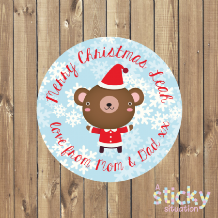 Personalised Christmas Children's Gift Labels - Cute Santa Bear Design